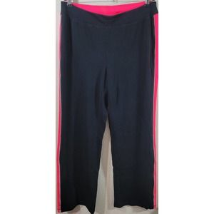 Catherines Black Pink Flat Front Pull On Sweat Pants 14W 16W Plus Lightweight